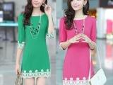 春装时尚修身显瘦蕾丝气质七分袖OL韩版中长款连衣裙