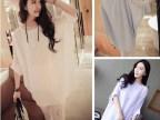 2014**订制 超宽松蝙蝠袖纯色雪纺衫 套头衫 505