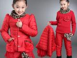 童装女童冬装套装2015新韩版中大儿童冬季棉衣三件套加厚运动服潮