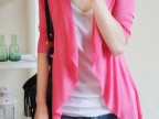2014春夏超薄欧美荷叶边空调防晒薄款中袖中长针织开衫 披肩外套