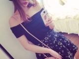 2014春季新款 性感一字领露肩t恤+高腰碎花短裙淑女两件套Y1