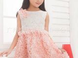 2014夏季新款蕾丝玫瑰花连衣裙 公主裙 三色可选 厂家直销