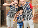 2014夏新款 时尚条纹在一起 情侣亲子装 韩版潮 个性 修身T
