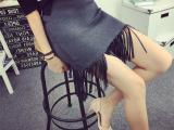 服装批发秋冬季新款女装欧美风修身不对称流苏打底半身短裙包臀裙
