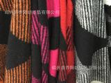 乔阳纺织 粗纺毛呢面料 针织提花  不规则乱块花型 女装大衣面料
