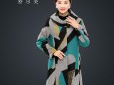 中老年大码女装秋冬款毛呢外套妈妈装大中长款风衣羊毛呢子大衣