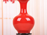 华朗 景德镇陶瓷器 家居装饰摆件 仿古花瓶工艺品摆设全红花瓶