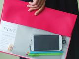 批发供应韩国文具 糖果色半透明文件袋文件夹 A4办公袋 6色选