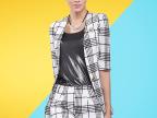 2014秋装新款修身显瘦五分袖格子小西装套装女9012