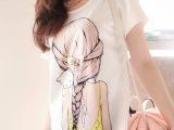 2014春夏韩版百搭美女图案印花圆领短袖女雪纺衫