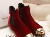 欧洲站G2013新款金丝绒金属鞋头平跟短靴时尚松紧矮靴红色女靴子