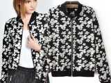2014新款欧美风asos同款复古风格印花长袖拉链女夹克外套女装