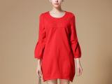 2015新款连衣裙秋季高端欧美女装大码修身显瘦圆领七分袖灯笼裙子