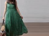 2014春夏女装波西米亚褶皱大摆沙滩吊带裙长裙连主裙