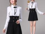 秋装 黑白镶拼宫延荷叶边衬衫款 气质显瘦长袖连衣裙A10476D