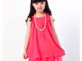 2014新款 童装 女童夏装 雪纺蕾丝连衣裙公主裙项链裙子一件代