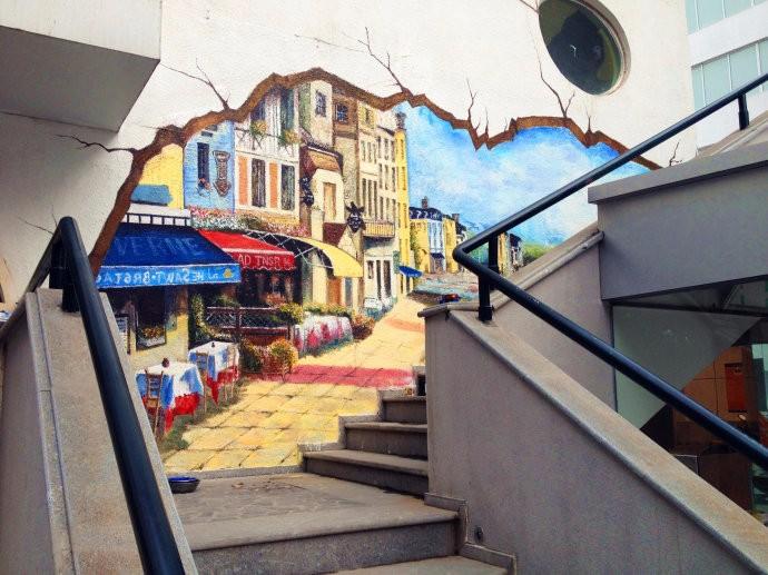 东莞手绘墙画 3d立体画 东莞手绘墙 追梦墙绘