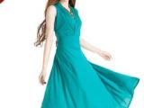 湖绿色深V领无袖背心裙 牛奶丝飘逸大摆长裙 大码显瘦连衣裙