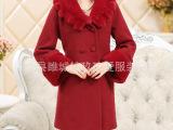 2014新款中老年纯色妈妈装秋冬季羊绒毛呢大衣中长款外套风衣女
