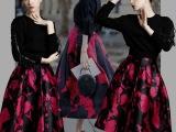 2014秋冬新款欧美加绒长袖卫衣套装裙女修身印花连衣裙套装女批发