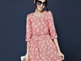 2015春秋季欧洲站新款品牌欧美高端外贸女装中袖连衣裙收腰