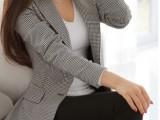 2014春秋新款千鸟格修身女外套长袖中长款休闲小西装