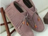 秋冬新款真皮女雪地靴平底平跟深口鞋磨砂牛皮休闲女单靴短靴子