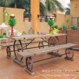 休闲桌椅组合 铁艺实木桌面餐桌子欧式后工业设计 做旧户外休闲桌