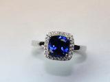 丹妮珠宝蓝宝石18K金纯银镶嵌宝石12号彩色宝石15号戒指11号