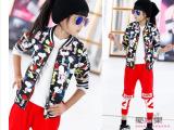 米米果家中大女童装2014秋新款长袖外套欧版潮卡通弹力棒球服开衫
