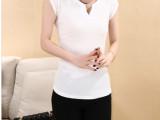 清仓特价 夏季韩版纯色V领短袖t恤女 修身显瘦纯棉短袖t恤