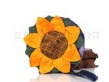 热销民族风扎染向日葵零钱包 向日葵圆形手提包 民族风布艺小包包