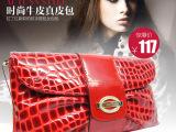 拉丁红新款豹纹手提包女包包代理代发一件时尚牛皮女式真皮单肩包