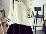 秋冬新款七分袖毛衣外套 日系甜美灯笼袖短款套头穿带女式针织衫