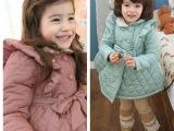 韩国童装女童秋冬装2013格子棉大衣宝宝棉衣外套外贸儿童加厚棉服