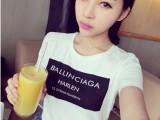 【淘货源】2014春欧美圆领字母短袖T恤黑 白l两色