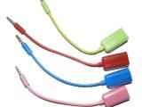 厂家供应3.5一分二苹果情侣耳机分线器iphone音频线