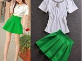 欧洲站新款 明星同款休闲时尚镶钻短袖上衣银光绿高腰半身裙套装