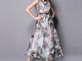 2015夏装新款无袖印花真丝连衣裙度假沙滩裙波西米亚海边长裙女