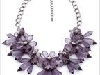 ZARA新款水晶宝石花朵项链 欧美夸张透明流行女项链 礼服项链