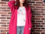 韩版针织开衫宽松纯色铆钉口袋 长款纯色毛衣 加大码女式开衫外套