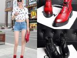 秋季新款真皮女靴 时尚休闲低跟防水台钱系带短靴 女式马丁靴批发