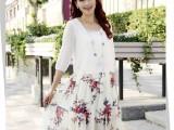 2014夏季女装新款雪纺连衣裙假两件波西米亚长裙欧美碎花裙