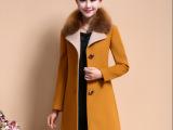2014秋冬韩版新款羊绒大衣女呢外套中长款狐狸毛领呢大衣