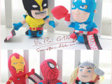 正版MARVEL Q版复仇者联盟蜘蛛侠钢铁侠公仔玩偶毛绒玩具礼品