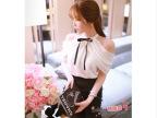 2014韩版新款绑带小蝴蝶结露肩袖仙女雪纺衫+荷叶半身裙套装