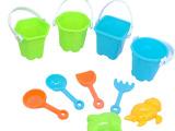 夏季热销儿童沙滩玩具7件套 沙滩桶/车套装 儿童戏水益智玩具
