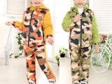 2015新款儿童羽绒服男女童迷彩羽绒套装小孩保暖两件套一件代发