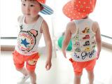 童装2014夏装新款韩版儿童小童童套装 卡通可爱男童女童背心套装