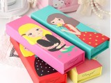 批发韩国文具盒 可爱铅笔盒 4个色选择清新梦想女孩卡通文具纸盒